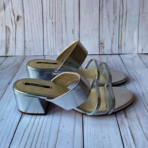 Authentic Zara Silver Slides/Mules